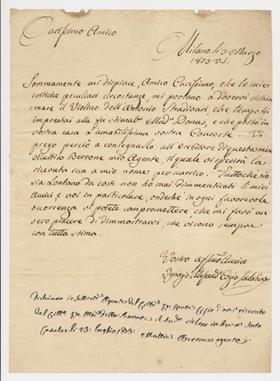 Count cozio original letter tarisio