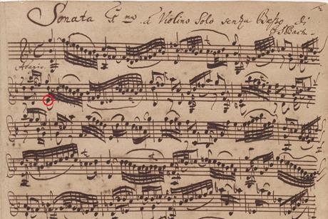 Bwv1001 adagio autograph manuscript 1720