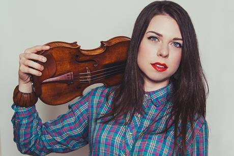 Violin over shoulder
