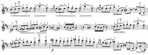 A later lyrical section in the work's first movement, shows the inventiveness of Haslop's workarounds
