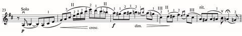 Haslop's creative fingering solutions in the opening of the solo part of Tchaikovsky's Violin Concerto