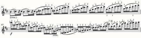 Tchaikovsky's fiendishly difficult passagework is rendered even more so when playing with only open strings, and first and second fingers