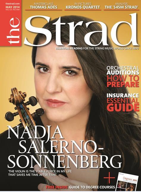 The issue includes Italian violinist Nadja Salerno-Sonnenberg on her multifaceted career, preparing for orchestral auditions, and the Kronos Quartet in pictures