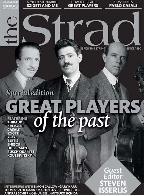 Jacques Thibaud, Fritz Kreisler and Pablo Casals adorn the cover of a special issue celebrating the great players of the past.